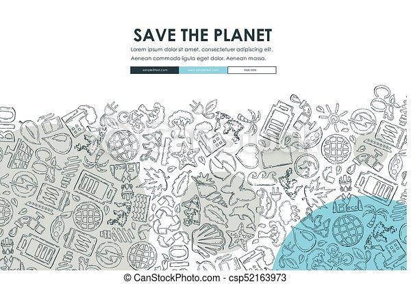 ecology Doodle Website Template Design - csp52163973