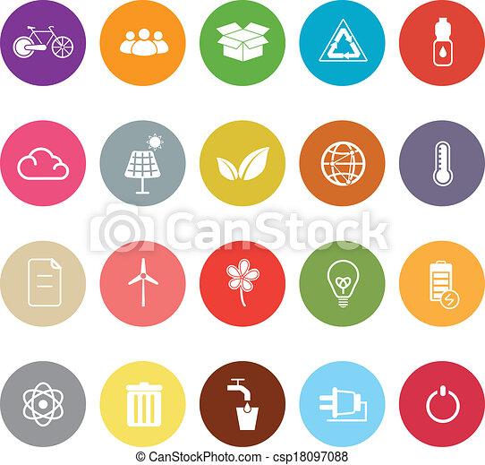 Ecology flat icons on white background - csp18097088