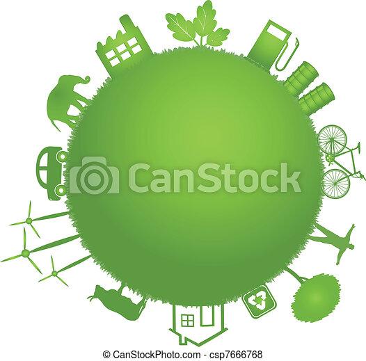 ecology green planet illustration  - csp7666768