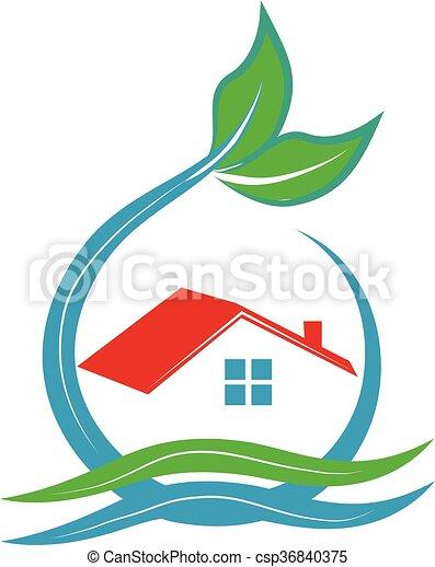 Ecology house logo - csp36840375