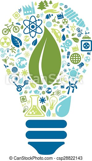 ecology icons in light bulb - csp28822143