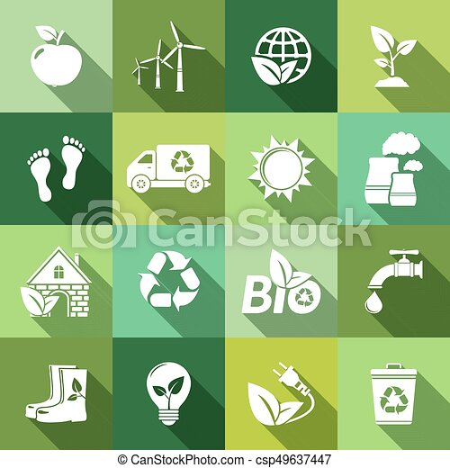 Ecology icons with long shadow - csp49637447