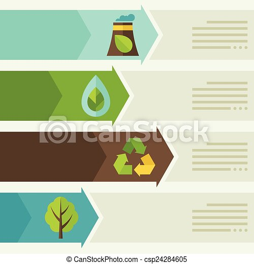 Ecology infographic with environment icons. - csp24284605