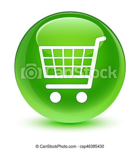 Ecommerce icon glassy green round button - csp46385430