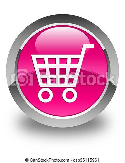 Ecommerce icon glossy pink round button - csp35115961