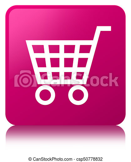 Ecommerce icon pink square button - csp50778832