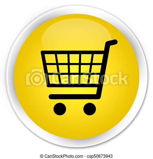 Ecommerce icon premium yellow round button - csp50673943