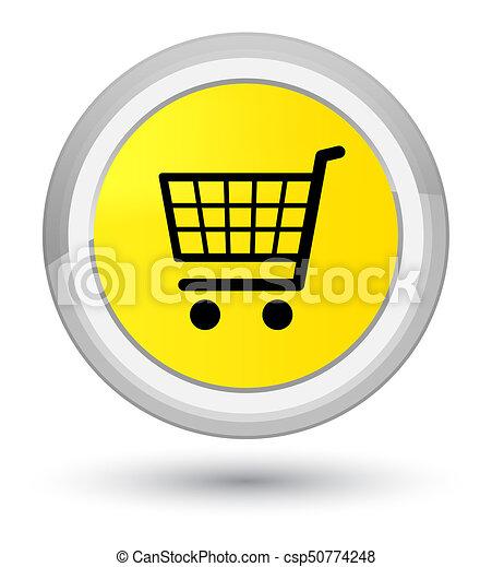 Ecommerce icon prime yellow round button - csp50774248