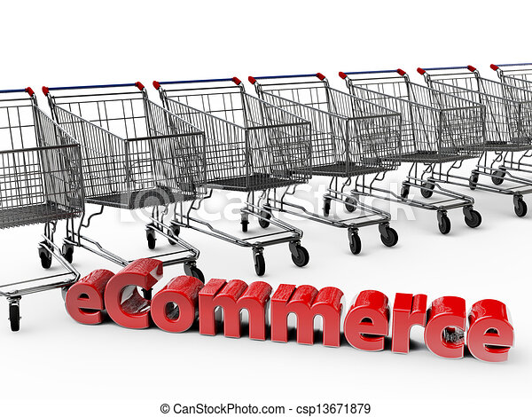 eCommerce with shopping carts in the background - csp13671879