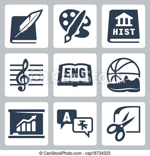 Iconos de la escuela Vector: literatura, arte, historia, música, inglés, PE, economía, idiomas extranjeros, artesanías - csp18734323