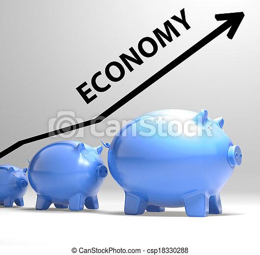 Economy Arrow Means Economic System And Finances - csp18330288