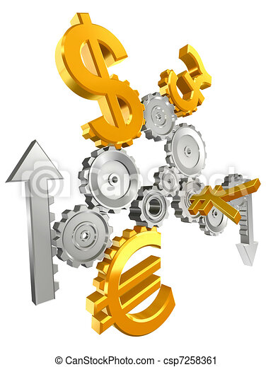 economy cogs currency up and down - csp7258361