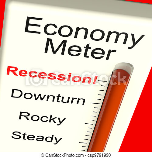 Economy Meter Showing Recession and Downturn - csp9791930