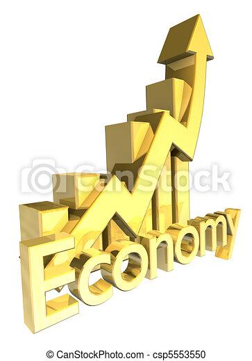 Economy - Statistics graphic in gold  - csp5553550