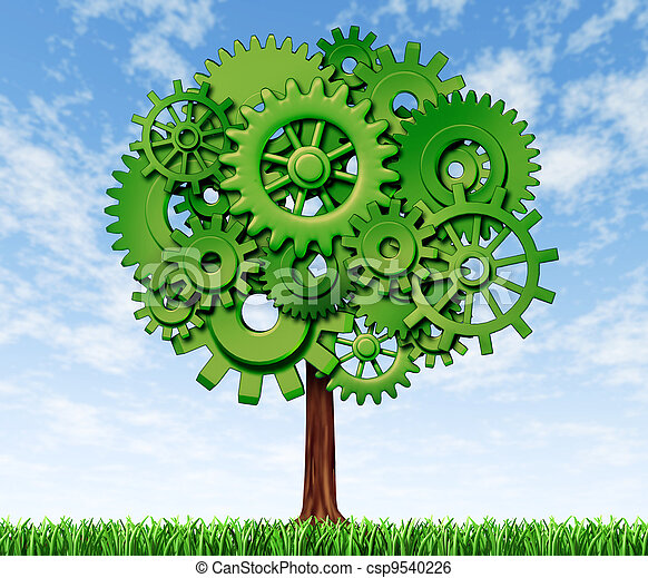 Economy Tree Business Tree Made Of Green Gears And Cogs On A Blue