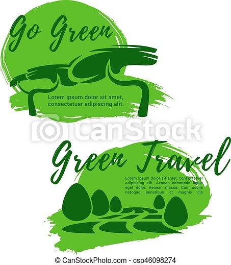Ecotourism And Go Green Symbol For Travel Design Ecotourism And