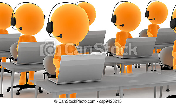 ecouteurs, ordinateurs, 3d, or, hommes - csp9428215