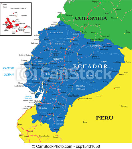 Colombia map Detailed vector map of colombia with country vector