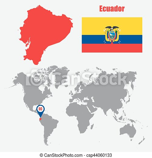 Ecuador map on a world map with flag and map pointer vector ecuador map on a world map with flag and map pointer vector illustration gumiabroncs Choice Image