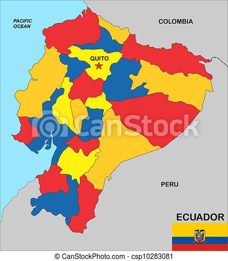 Ecuador Map Very Big Size Ecuador Political Map Illustration