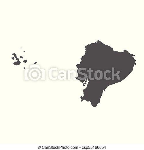 Ecuador vector map. Black icon on white background. - csp55166854