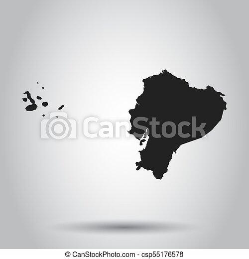 Ecuador vector map. Black icon on white background. - csp55176578