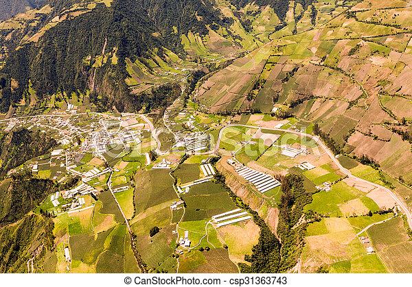 Ecuadorian Farmland Aerial Shot - csp31363743