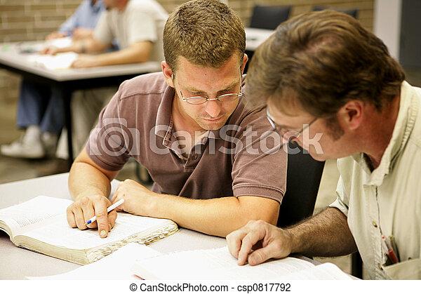 ed, 공부하다, -, 성인, 은 파트너가 된다 - csp0817792