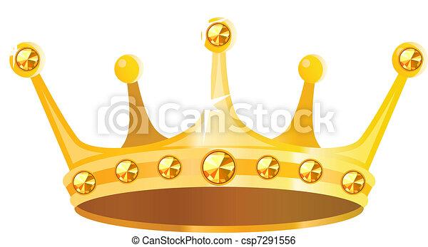 edelsteenen, gouden kroon, vrijstaand, achtergrond, witte  - csp7291556