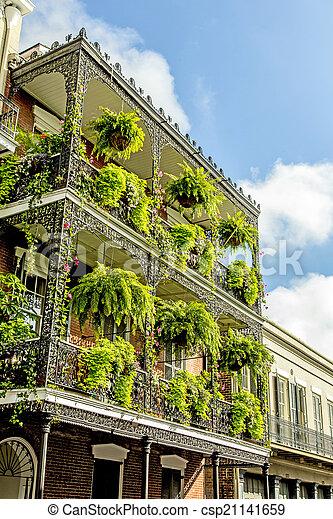 edifícios, antigas, sacadas, francês, histórico, ferro, quarto - csp21141659
