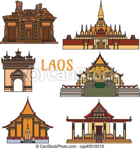 edifícios, sightseeings, histórico, laos - csp40018318