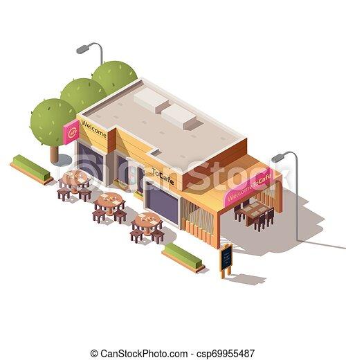 Edificio De Café Con Terraza Exterior Vector Restaurante De