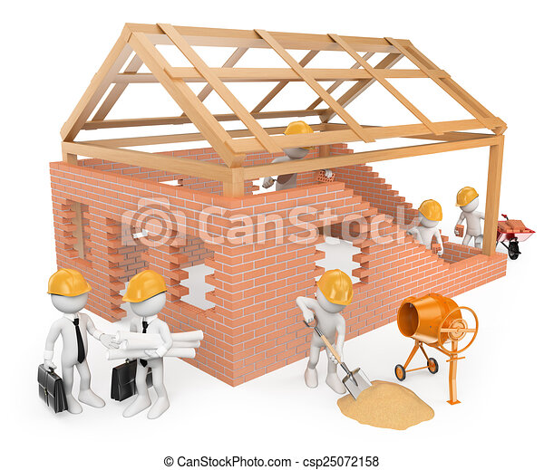 Blancos 3D. Trabajadores de construcción construyendo una casa - csp25072158