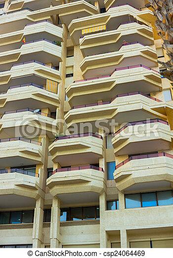 Edificio Apartamento Moderno Balcones Plano De Fondo Ter