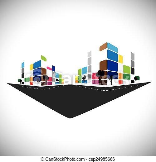 Icono Vector, edificio de apartamentos caseros o súper mercado o fidelidad - csp24985666