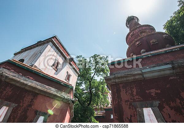 Vista de un antiguo edificio tradicional en cuatro grandes regiones templo, templo al estilo tibetano, que es el más grande en el palacio de verano de Beijing. En el palacio de verano en Beijing, China. - csp71865588
