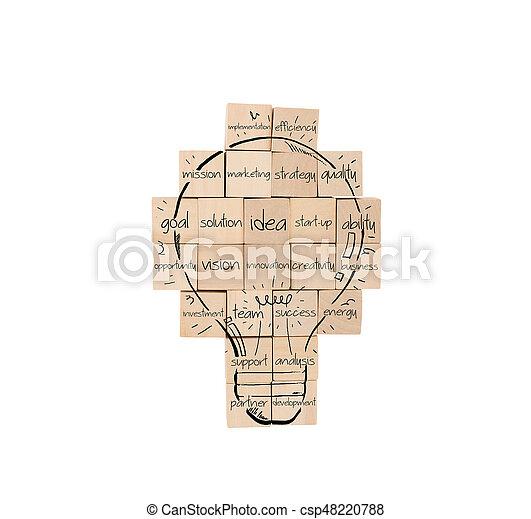 Construyendo una nueva idea creativa. La pared de ladrillos con bombilla dibujada - csp48220788
