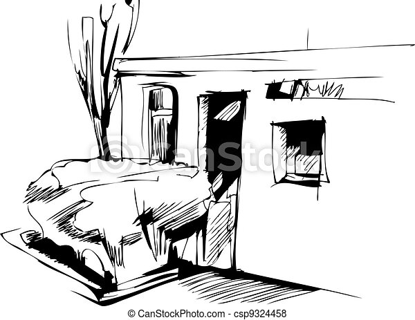 Sketch del edificio y arbustos - csp9324458