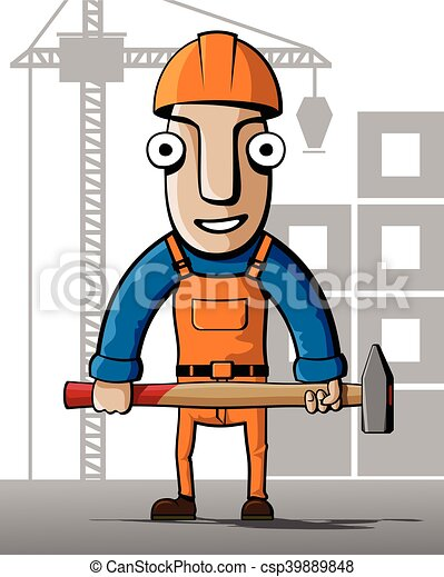 Constructor. En un fondo de edificio - csp39889848