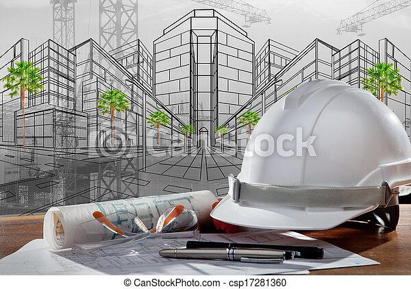 Un archivo de cascos de seguridad y arquitecto plantados en una mesa de madera con una escena de atardecer y construcción - csp17281360