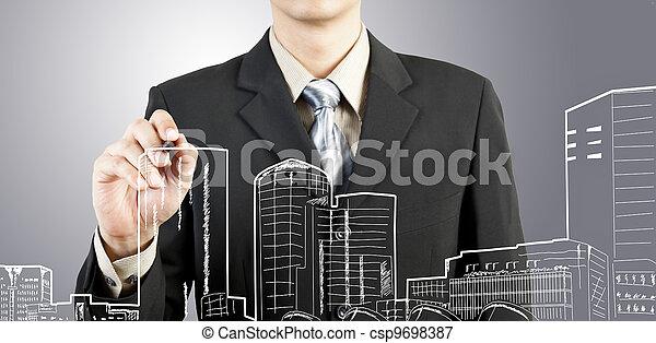 edificio, cityscape, empate, hombre de negocios - csp9698387