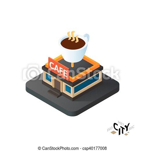 Isometric Café icono, edificio de información de la ciudad, ilustración vectorial - csp40177008