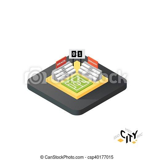 Iocono del campo de fútbol, el elemento informativo de la ciudad, ilustración vectorial - csp40177015