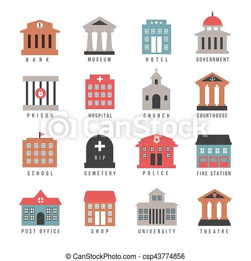Edificio, ciudad, municipal, gobierno, aislado, icons., símbolos ...