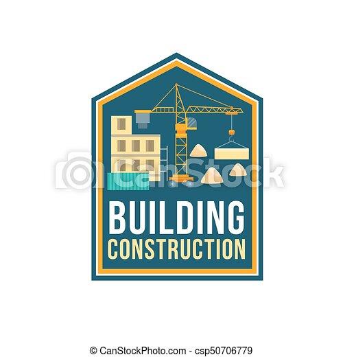 La placa de la empresa de construcción con el sitio de construcción - csp50706779