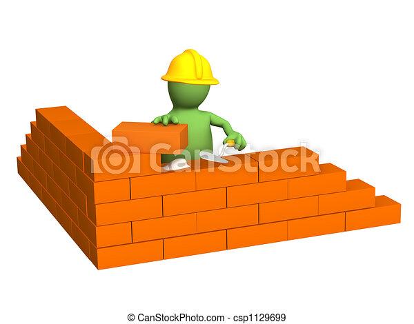 Una marioneta de 3D, constructor, construyendo una pared de ladrillos - csp1129699