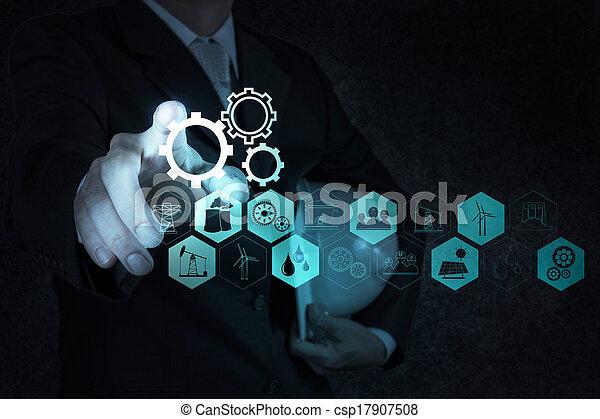 edificio, desarrollo, concepto, trabajando, exposición, mano, computadora, hombre de negocios, interfaz, nuevo - csp17907508