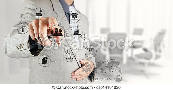 Hombre de negocios trabajando con el nuevo concepto de desarrollo de la computadora - csp14104830