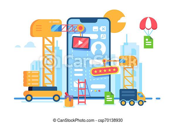 Desarrollo de aplicación móvil. Proceso creativo. - csp70138930