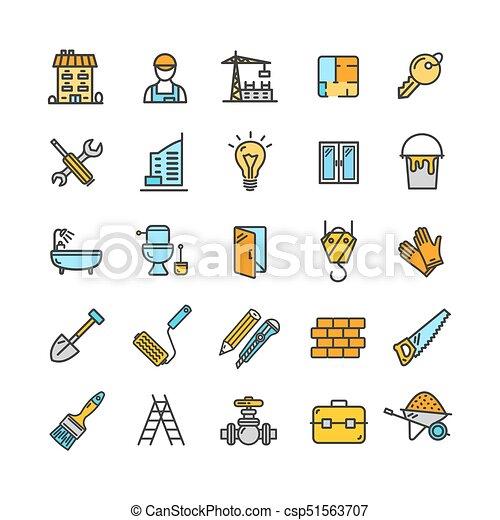Edificio, elementos, color, set., vector, construcción, línea fina ...